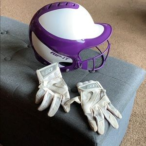 Rip it Girls Softball Helmet & Softball Gloves